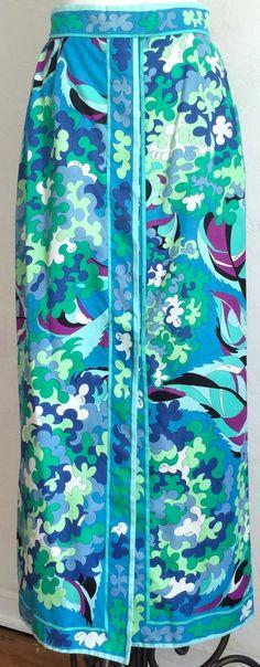 Vtg Original Emilio Pucci Pastel Turquoise Mod Cotton Print Maxi Skirt Blouse | eBay