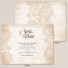 Exclusively Wedding's Woodland Lace Save the Date has a unique design that puts a new twist on rustic, allowing you to announce your date in chic style.
