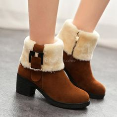 cool Shoespie Plush Buckles Snow Boots