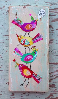 Love Birds Folk Art Gift For Mom por evesjulia12 en Etsy