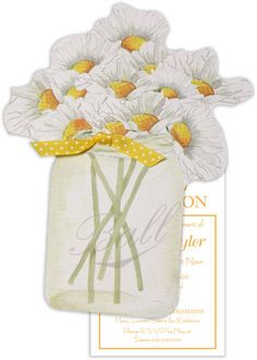 Mason Jar of Daisies Die-cut Invitations