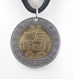 Mexico Coin Necklace 5 Nuevos Pesos Leather by AutumnWindsJewelry
