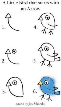 How to draw a little bird!