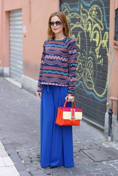 Wide leg palazzo pants and Petite Faye bag