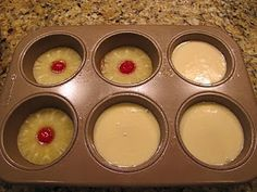 Mini Pineapple Upsidedown Cakes Cake Ingredients: 2 eggs, 2/3 C white sugar,4 T pineapple juice, 2/3 C all purpose flour 1 tsp baking powder, 1/4 tsp salt Topping: 1/2 stick butter, 2/3 C brown sugar, 1-can pineapple rings, 6-maraschino cherries Preheat oven to 350 degrees. Spray tins.