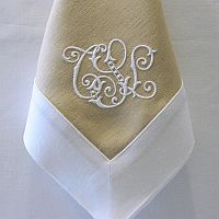 monogram  Would be cute to make napkins like this.  could use blue with white trim and white monogram