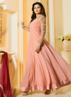 Shop Drashti Dhami peach and maroon color georgette party wear salwar kameez…