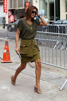 All safari green everything beige  embellished  mules