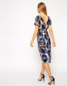 Enlarge ASOS Crepe Wiggle Dress in Spot and Floral Print