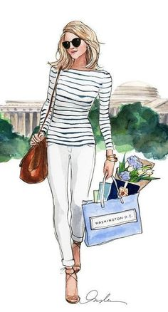 Very beautiful Lady doing shopping / Donna molto bella che fa shopping - Art by Inslee Haynes Arte Fashion, Ideias Fashion, Girl Fashion, Classy Fashion, Girly, Watercolor Fashion, Fashion Design Sketches, Illustration Sketches, Fashion Illustrations