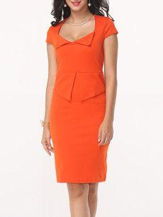 Fashionmia orange bodycon midi dresses - Fashionmia.com