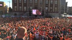 HOLLAND! Goose Bumbs! Grote Markt Groningen is celebrating the Winning Penalty by Klaas Jan Huntelaar at the game Netherlands - Mexico