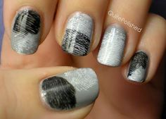 Finger print nails. Base coat, then brush a little paint on two fingers: one color on a thumb, another on the index finger. Roll painted print across nail. Clear coat to seal.