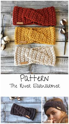 Crochet Twist Headband Pattern : The River Ear Warmer crochet pattern. Love this twisted headband for winter. Room for ponytails and top knots! Bandeau Torsadé, Bandeau Crochet, Crochet Ear Warmer Pattern, Mittens Pattern, Crochet Ear Warmers, Bonnet Crochet, Crochet Beanie, Headband Crochet, Knitting Patterns