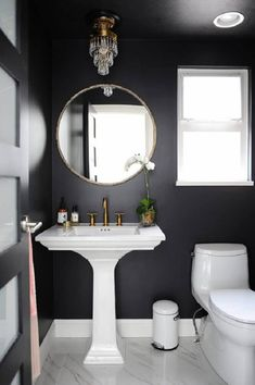 Chic black powder room design by Chrissy Cottrell: Chrissy & Co Vancouver Bathroom Interior, Modern Bathroom, Small Bathroom, Bathroom Ideas, Black Bathrooms, Master Bathroom, Minimalist Bathroom, Bathroom Designs, Black Bathroom Paint