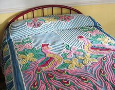 Peacock chenille bedspread