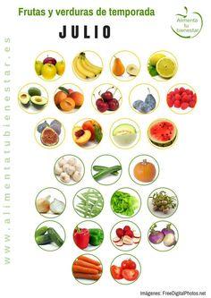 Frutas y verduras de temporada para julio