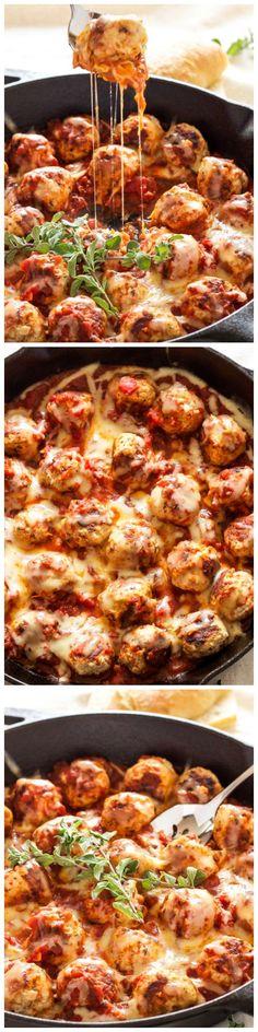 Skillet Meatballs in Marinara Sauce - Italian flavored turkey meatballs stuffed with mozzarella cheese and simmered in delicious marinara sauce.