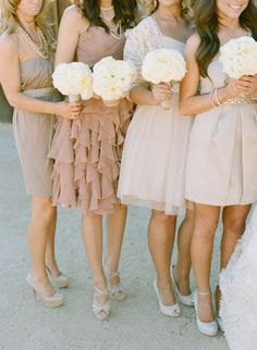 blush colored Bridesmaids and white bouquets  Photography by Melissa Schollaert Photography / melissaschollaertphotography.com, Event Planning   Design by Ashley Gain Weddings and Events / ashleygain.com, Floral Design by Petal Pushers / azpetalpusher.com