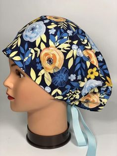 Scrub Hat #66 Puffy Pixie Style Drawstring Tieback Surgical Cap Blue Orange Flowers Yellow leaves on#blue #cap #drawstring #flowers #hat #leaves #orange #pixie #puffy #scrub #style #surgical #tieback #yellow Turquoise Background, Navy Background, White And Blue Flowers, Orange Flowers, Navy Hair, Pixie Styles, Yellow Leaves, Surgical Caps, Scrub Caps