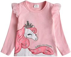 Dxton Baby Girl T Shirt Long Sleeve T-shirt for Kids Applique Unicorn Tees Cotton Kids Winter Clothes Girl Cartoon Costume Kids Girls Tops, Girls Tees, Shirts For Girls, Twin Outfits, Kids Outfits, Leggings, Tights, Cartoon Costumes, Girl Costumes
