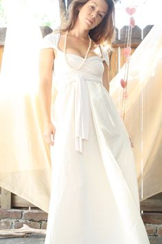 Milk & Honey-Convertible Wrap Wedding Gown by whiteromance on Etsy.