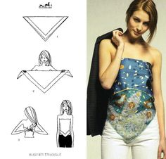How To Tie A Scarf - Hermès Scarf Knotting Cards Vol.2 - BUSTIER TRIANGLE