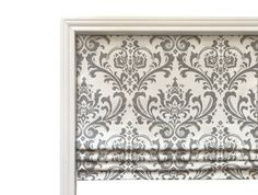 Faux Flat Roman Shade Valence/Couture Roman Shade/ Premier Prints Traditions Twill Storm Grey / Nursery Room Valence / Your Choice of Fabric