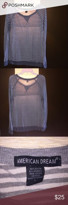 American Dream Striped Long Sleeve Normal wear, no tears/stains   95% Rayon 5% Spandex   No trading ✖️ 10% off 2 items or more bundles ✔️ Prices are VERY negotiable 💲 American Dream Tops Tees - Long Sleeve