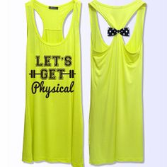 Let's get physical workout   fitness  bow tank top 3 by VintTime, $24.00
