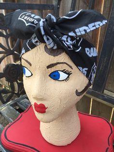 Oakland Raiders headband bandana hair bow