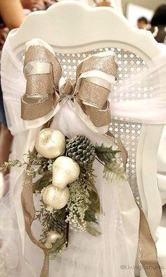 Dining chair tie back swag Christmas décor ToniKami Ðℯck Ʈհe HÅĿĿs Silver white & gold