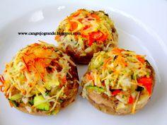 Champiñones rellenos Vegetarianos www.cangrejogrande.blogspot.com RECETA COCINA