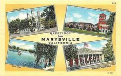 California CA 1943 Greetings From Marysville Multi View Vintage Linen Postcard