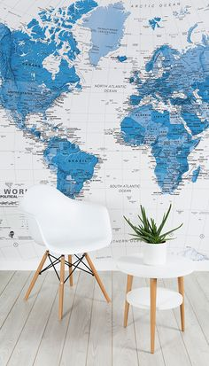 Colorful hd world map wallpaper wall decals wall art print mural blue and white world map mural gumiabroncs