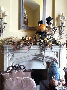 20 Kool Decorated HalloweenMantels - Style Estate - #halloween #mantel