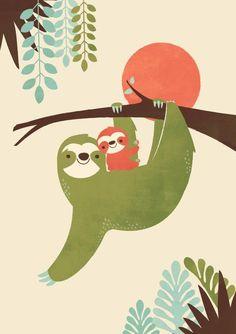 Mama Sloth Art Print by Jay Fleck Children's Book Illustration, Iphone Wallpaper Illustration, Sloths, Art For Kids, Vintage Art Prints, Fine Art Prints, Cute Sloth, Baby Sloth, Sloth Tattoo