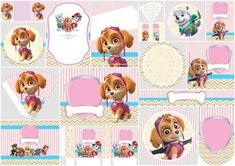 Paw Patrol for Girls: Free Printable Kit. - Oh My Fiesta! in english Girl Paw Patrol Party, Sky Paw Patrol, Paw Patrol Birthday Girl, Dog Birthday, Free Printable Cards, Free Printable Invitations, Party Printables, Free Printables, Printable Frames