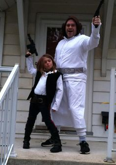 "Perfect father-daughter Halloween costume! When his daughter wanted to be Han Solo, Tom Burns posted, he didn't hesitate to encourage her that a girl could be the Star Wars hero. ""She thought for a second and said 'Well, if I'm a Han Solo, you should probably be Princess Leia, I guess…' She looked at me with an implied question in her eyes. And, c'mon, if I immediately told her 'YES, a girl can be Han Solo,' it would've been pretty hypocritical of me to say 'Nope, a boy can't be Princess Lei..."