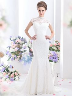 Romantic Trumpet-Mermaid V-Neck Court Train Lace Key Hole Wedding Dress Modest Wedding Gowns, Wedding Dress Styles, Bridal Gowns, Wedding Dress Necklace, Deb Dresses, Chic Wedding, Lace Wedding, Gown Wedding, Dream Wedding