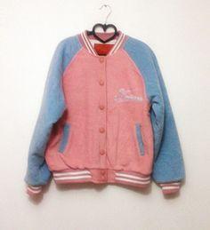 原宿街拍款 90s 韩国制 古着 软妹夹棉棒球外套