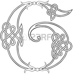 A Celtic Knot-work Capital Letter G Stylized Outline photo