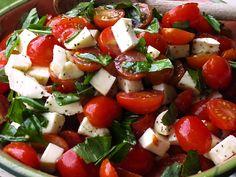 Caprese Salad with Grape Tomatoes, Mozzarella & Basil - la bella vita cucina
