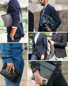 Street Style, Just the Details: Patterned Clutch Bags: The Daily Details: Blog : Details Man Clutch, Man Purse, Clutch Bags, Mens Pouch, New Politics, Sequin Skirt, Street Style, Mens Fashion, Purses