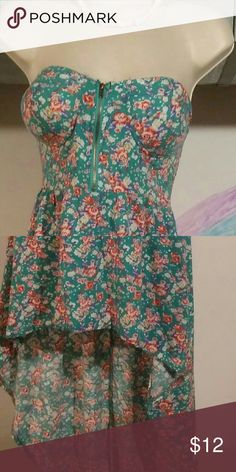 Hi-low strapless dress Zippered bust. Green with floral print. Very pretty. Very tiny fray on top back edge not noticable Poetry Dresses High Low