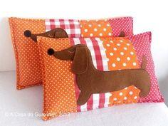 Fabric appliqué pillows