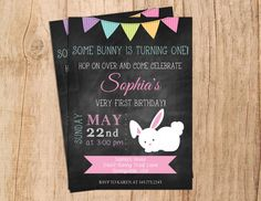 Bunny, Spring, Birthday Invitation for girls .Chalkboard .First Birthday .Banner Invite .Easter Birthday . JPEG file or PDF file . Digital by MoonshyneDesigns on Etsy https://www.etsy.com/listing/287899901/bunny-spring-birthday-invitation-for