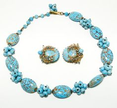 Vintage Jonne House of Schrager Demi Parure Necklace Earring Set Turquoise Blue Crackle Art Glass Matching Earrings Gold Leaves Rhinestones