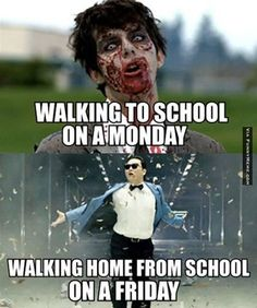 Funny memes - Walking to school on a Monday | FunnyMeme.com