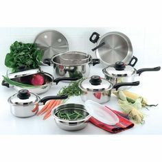 Chef's Secret 15-Piece Element Stainless-Steel Cookware Set >>> Click on the image for additional details.